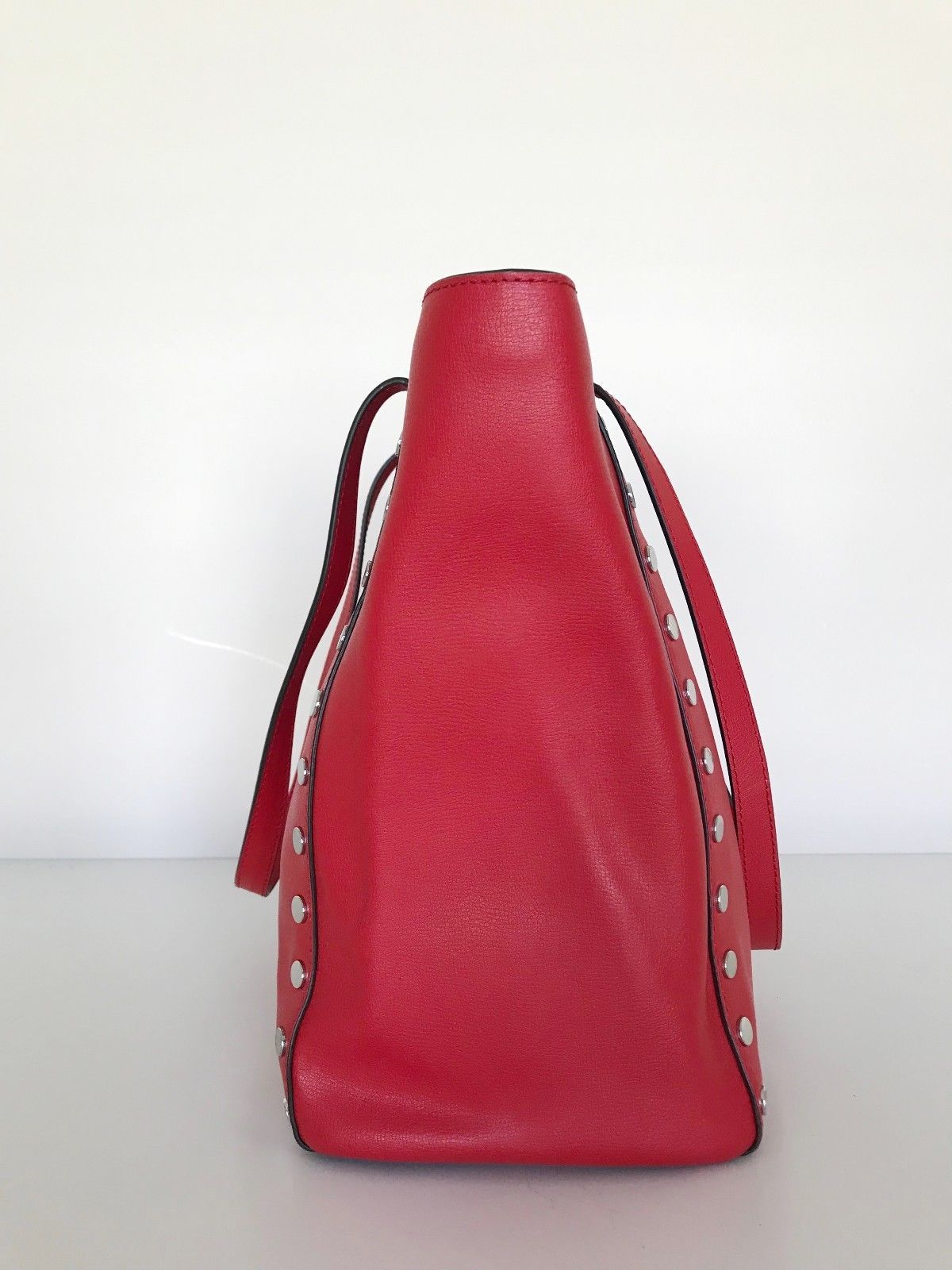 6a45d6cbcbb5 Michael Kors Rivington Stud Lg Leather Tote Bright Red Tote NEW 100%  Authentic