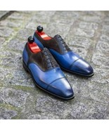 Men's Handmade Genuine Blue & Black Leather Oxford Patina Toe Cap Dress ... - $214.99