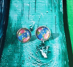 Pink Roses with Blue Background Stud Earrings - $5.00