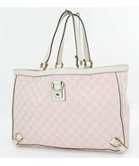 Authentic GUCCI Pink GG Canvas and White Leather Tote Hand Bag Purse #36817 - $328.50