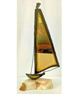 Mid Century Copper Metal Art Sailboat on Quartz Table Sculpture - $14.80