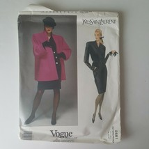 Vogue Paris Original Yves Saint Laurent 2581 Sewing Pattern Coat Dress Size 8-10 - $19.79
