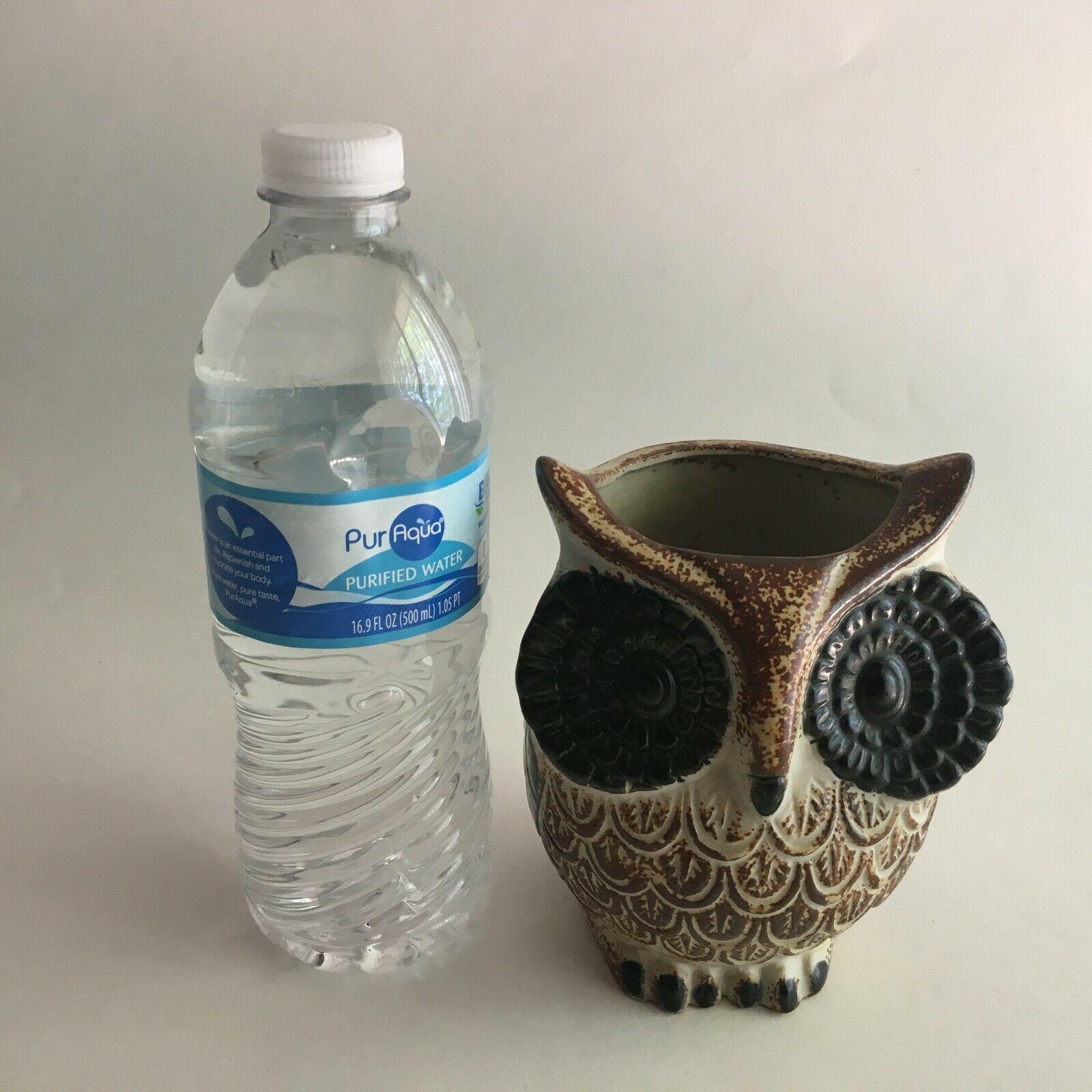 "Vintage Ceramic Owl Flower Vase Figurine 5.5"" X 3"" Brown & Cream Big Black Eyes image 5"