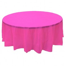 "6 PACK, 84"" Hot Pink Round Plastic Table Cover, Economy Table Cloth Reus... - $15.83"