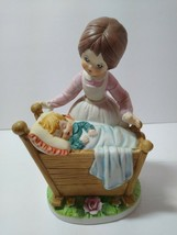 Vintage Lefton Ceramic Bisque Mother Looking Over Child Crib Decorative ... - $19.79