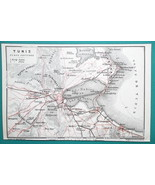 TUNISIA Tunis & Environs - 1911 BAEDEKER MAP - $12.60