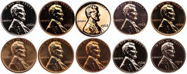 1960-1969 S Lincoln Memorial Cent Gem Proof & SMS Run 10 Coins US Mint P... - $15.99