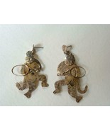 Vintage Sterling Silver Tiger Cats Playing Tennis Earrings Posts  Far Fetched - $36.17 CAD