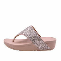 FitFlop Olive Glitter Coral Pink Women's Toe Post Wedge Sandal DO3-807 - $64.00