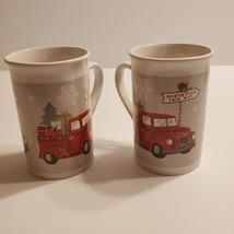 Royal Norfolk Christmas North Pole Ceramic Coffee Mugs Tea cups Set of 2. - $22.00
