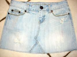American Eagle Cotton Distresed Denim J EAN Skirt Sz 2 - $15.47