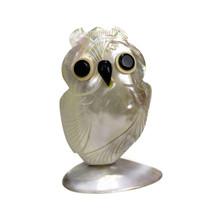 HORNED OWL   Vintage Hand-Carved Mother of Pearl Trinket Holder   Thaila... - $18.76