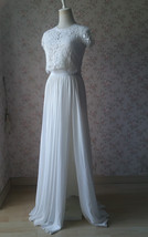 Split Maxi Chiffon Skirt Blue Gray White Wedding Chiffon Skirt Bridesmaid Outfit image 8