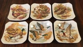 6 Vintage Royal Adderley Bone China Floral GAME BIRD Teabag Coaster Plat... - $24.50