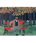 African American Man on a red bench Horace Pippin 8 x 10 Black  Folk Art... - $7.50