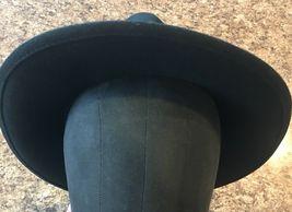 DORFMAN PACIFIC Fedora Black Wool Felt Velvet Hat Feather Sz M Brush Made USA image 7