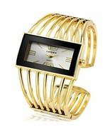 Women Luxury Cuff Bracelet Rectangular Dial Hollow Analog Quartz Wrist W... - £20.79 GBP
