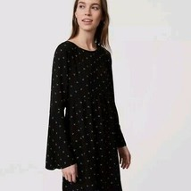 Ann Taylor LOFT XL Black Moon Print Scoop Neck Bell Sleeve Dress NWT NEW... - $38.61