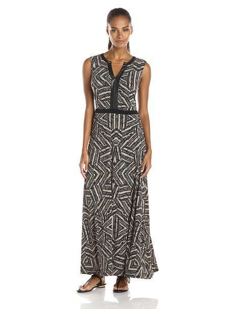 Calvin Klein Black Beige Chain Embellished Faux Leather Trim Maxi Dress M
