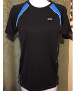 Champion Youth Size L 12 - 14 Black W/ Blue Accents Athletic Shirt - $9.25