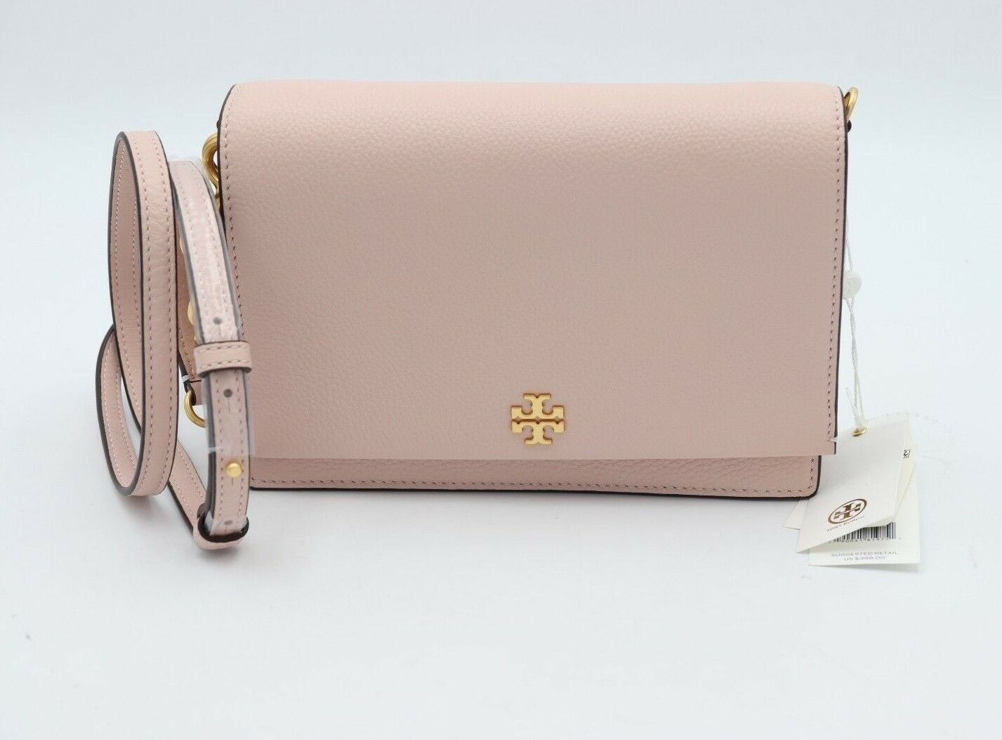 Primary image for NWT Tory Burch Georgia Pink Pebbled Leather Combo Crossbody Bag Clutch New $398