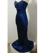 COLLETTE DINNIGAN Gown 100% Silk Royal Blue Strapless Ruched Bust S Aust... - $449.99