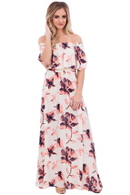 Boho Vibe Floral Print Off Shoulder Maxi Dress  - $25.98
