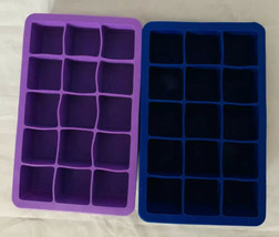 Unmarked Silicone Lot of 2 Blue/Purple Small Rubber Ice Cube Trays - $12.89