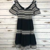 Spense Boho 4 fully lined black dress white crochet accents keyhole sleeves - $21.78