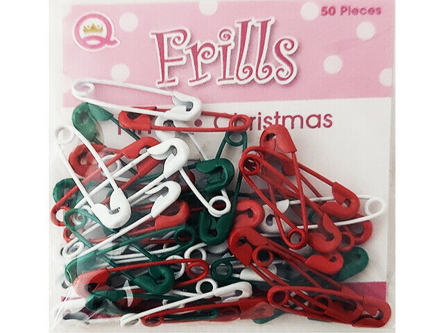 Queen & Co Mini Safety Pins, Christmas, 50 Count