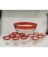 INDIANA / WHITEHALL GLASS PUNCH BOWL RUBY RED SET 12 PIECE THUMPRINT CUP... - $60.00