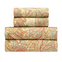Traditions by Waverly Paddock Shawl Persimmon Sheet Sheets Set Queen Siz... - $69.18
