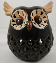 "Owl Tea light Holder 6"" Tall Glazed Pottery Brown Tabletop Decor Ceramic - $21.77"