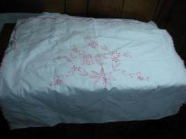 2 pc lot vintage Pillow Shams embroidered \White Pink 28X32 monagram pil... - $14.99