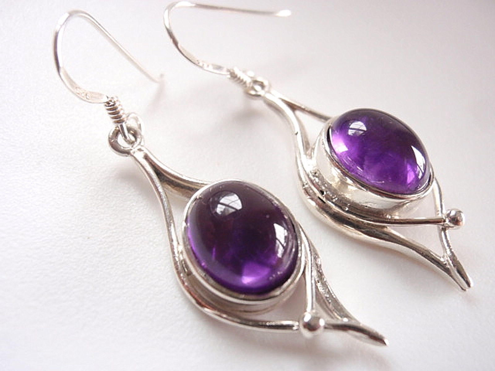 Primary image for Purple Amethyst Wonderfully Curvy Dangle Earrings 925 Sterling Silver Corona Sun