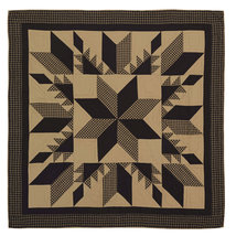Dakota Star Twin Quilt - Feathered Star Patchwork - Black & Tan - Vhc Brands