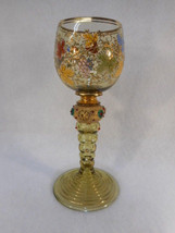 Antique Ornate Bohemian Moser Jeweled Enamel Amber Wine Glass Stem - $985.05