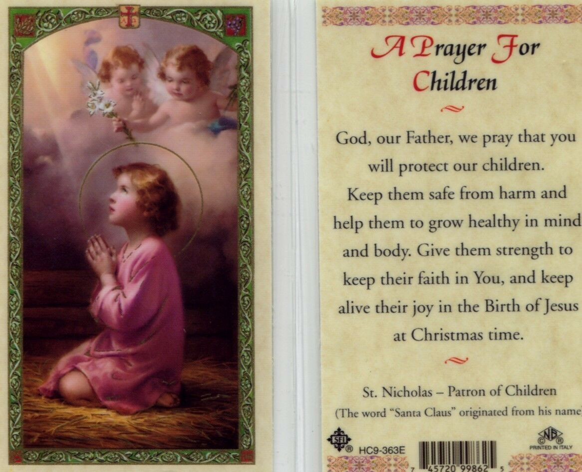 Primary image for A Prayer for Children Card Laminated Catholic - EB447 - Angels Protect Them