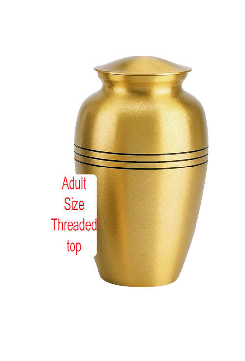Adult Gold Colored, Brass Funeral Cremation Urn w. Box, Assorted Sizes Available image 5