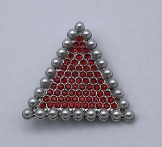 """Delta Sigma Theta - 2""""Brooch Red Stones w/Pearl Outline - £14.34 GBP"""