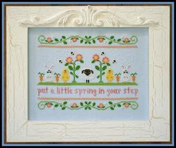 Spring In Your Step easter spring cross stitch chart Country Cottage Nee... - $7.20