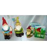 Lot (3) Little GARDEN GNOME Carved Figurines (+ Mini Book) - $14.60