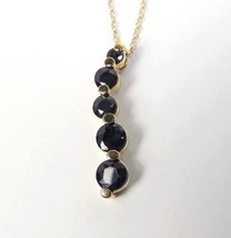 "Genuine SAPPHIRE 5 stones 1.30 CTW Journey Necklace 18"" - $31.58"