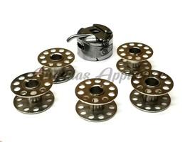 5 Metal Bobbins & Bobbin Case 6Pc Set for Brother Machine PX300, RS15, R... - $13.41