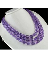 CERTIFIED NATURAL AMETHYST CARVED BEADS 3 L 1152 CTS GEMSTONE ANTIQUE NE... - $1,710.00