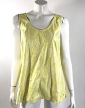 Calvin Klein Tank Top XL Yellow White Snake Animal Print Sleeveless Shell Womens - $15.83