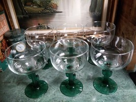 Set of 6 NEW LIBBEY COZUMEL HAND BLOWN GREEN GLASS CACTUS STEM GOBLETS--... - $20.00