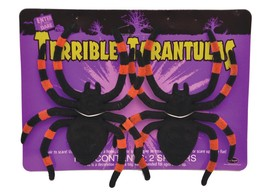 Tarantula Prop Spiders Carded Lot of 2 Vinyl Flocked Halloween Realistic... - $27.99