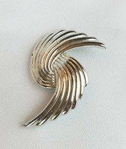 Vintage Trifari brooch pin silver tone jewelry abstract - $25.74