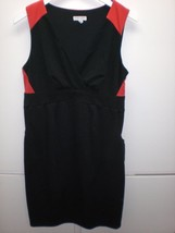 B741 Womens LIZ LANGE MATERNITY Black/Red Sleeveless DRESS Sheath MEDIUM - $26.99